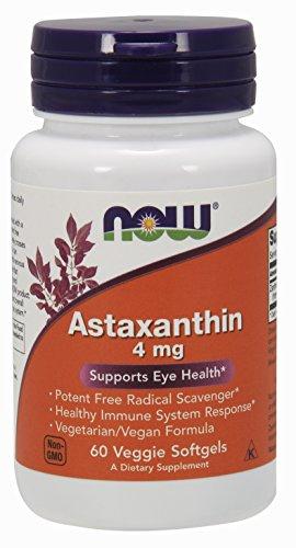 Now Foods, Astaxanthin, 4 mg, 60 Veggie Softgels (Softgels Astaxanthin)