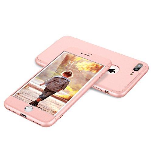 HopMore Fundas iPhone 7 Plus 3 en 1 Duras Case 360 Mate Ultra Slim Antigolpes Design Resistentes PC Cover para iPhone 7 Plus -- Rosa