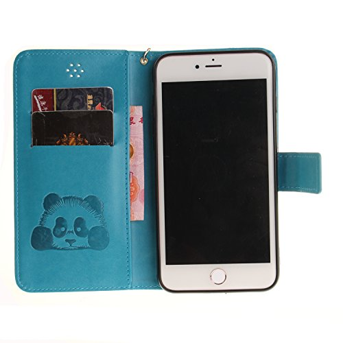 Custodia per iPhone 7 Plus in Pelle,SKYXD Cover per Apple iPhone 7 Plus Custodia Flip Libro 360 Gradi PU Wallet / Porta Carte / Chiusura Magnetica Case Caso di Morbida Colorato Panda Designi PU Portaf Azzurro