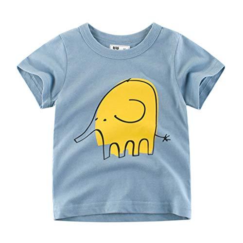 ALLAIBB Niño pequeño Niños pequeños Verano de Manga Corta de algodón Color sólido Patrón de Elefante Camiseta 3-8 T (Color : Blue, Size : 90)