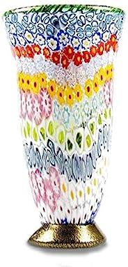 YourMurano Vaso decorativo in vetro di Murano, piccolo vaso multicolore, oggetto decorativo, vaso italiano fat
