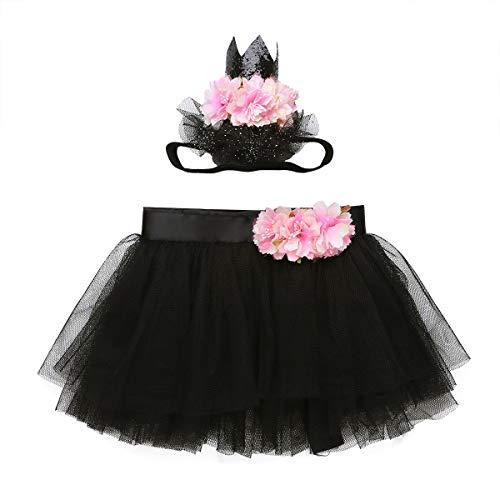 YiZYiF Mädchen Baby Bekleidungsset Tutu Tüllrock Bowknot Rock mit Blumen Kopfschmuck Kinder Pettiskirt Dancewear Karneval Halloween Schwarz One Size