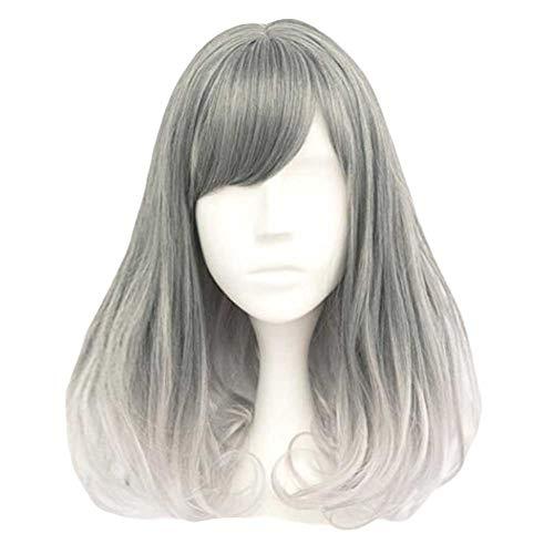Fading Steel Grey 35 cm 2 Tons Cosplay Pleine Perruque Longue Cheveux Bouclés Perruque Rinka
