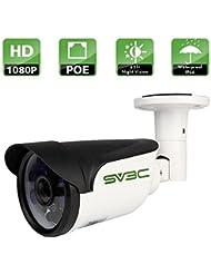 SV3C Full HD 1080P Poe IP Caméra de Surveillance, 2.0 Megapixel, 1920X1080 Resolution, 20M Vision Nocturne, IP66 Imperméable, Support Remote vu par Iphone, Android Phone, Pad et Windows PC