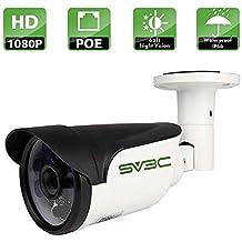 SV3C 1080P HD Poe Cámara IP de Vigilancia Exterior, 1920X1080 Resolución, 20M Visión Nocturna, Resistencia al agua IP66, Soporta vision remota mediante Iphone,Andriod Phone,Pad and Windows PC