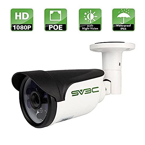 SV3C Full HD 1080P POE IP CCTV Camera Outdoor Security Camera Bullet, IP66 Waterproof, 20Meter Night Vision, Support Remote Viewed by Iphone,Andriod Phone,Pad and Windows PC Anywhere Anytime