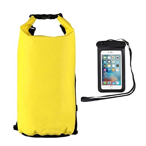 Youngdo 20L Bolsa Estanca Impermeable Mochila Estanca Funda Universal para Smartphone al Aire Libre y Deportes Acuáticos 2 Pack 500D Amarillo
