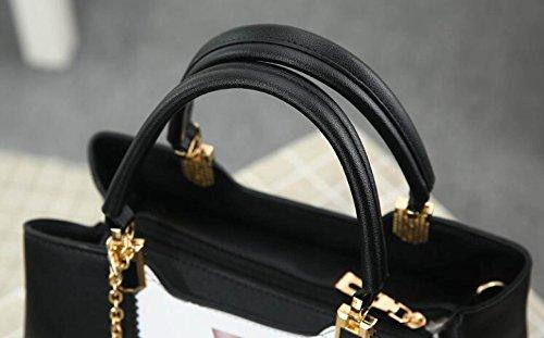 Schwarzes PU-Druckelement-Dame-Schulter-Beutel-Kurier-Beutel-beiläufige Temperament-Handtaschen-Handtasche Black