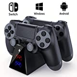 EXTSUD PS4 Controller Ladestation, 2019 Upgrade Dual Dualshock 4 Ladegerät Charger mit LED Anzeige und USB Kabel Ladegerät für Sony Playstation 4 / PS4 Slim/PS 4 Pro Wireless Game Controller Gamepad