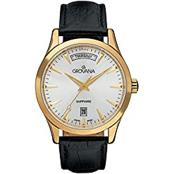 GROVANA 1201.1512 Men's Quartz Swiss Watch with Silver Dial Analogue Display and Black Leather Strap