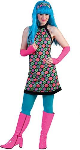 (Karneval Klamotten Hippie Kleid Kostüm Damen Flower-Power Kostüm Damen inkl. Haarband Disco-Kleid Karneval 60er Jahre Hippie Damenkostüm Größe 40/42)