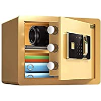 ZQY Embedded Pequeña Huella Digital Password Safe con Ocultos Oficina Seguro For Hotel con Clave (Color : Gold)