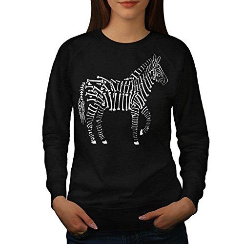 Zèbre Squelette Animal Femme S-2XL Sweat-shirt | Wellcoda Noir
