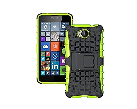 Ouluyun Résistant Antichocs Coque pour Microsoft Lumia 650(Vert), Robuste Arrière Shell Housse Étui avec Béquille Hybrid Case + Gratuit Mini USB LED Light Random Colors
