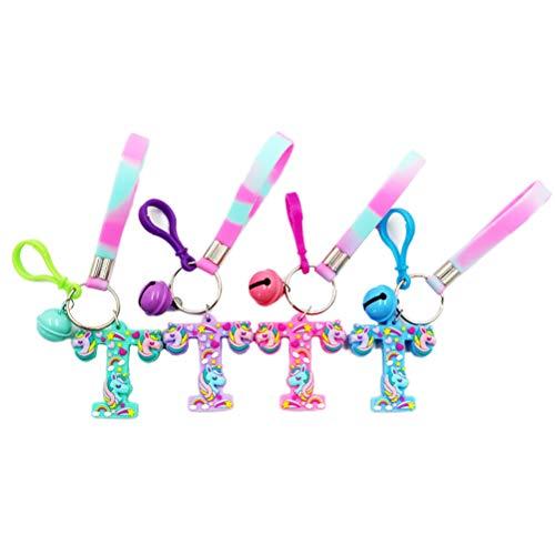 4 Stück Unicorn Fashion Puppe Haar Bilateralen Brief Schlüsselanhänger Auto Schlüsselanhänger Handtasche Tasche Anhänger Dekoration Hängende Keychain Zubehör -