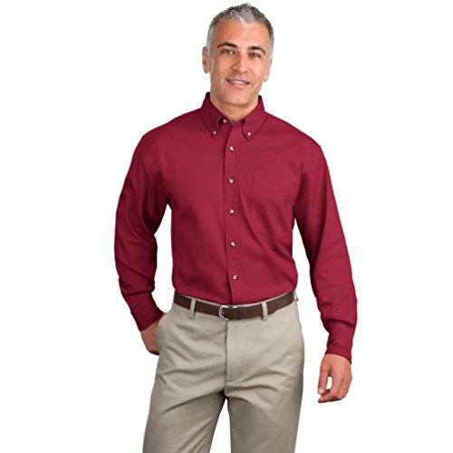Port Authority Long Sleeve Twill Shirts Gr. xl, Rot - Bright Burgundy (Authority Port Shirt Twill)