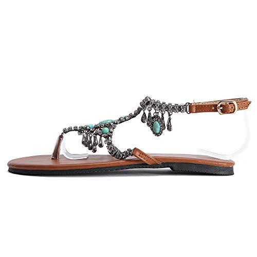 SHE.White Damen Beiläufig National Wind Sexy Sandalen Bohemien Gemütlich Schuhe Atmungsaktiv Riemchensandalen Flip-Flop Flache Unterseite Schuhe -