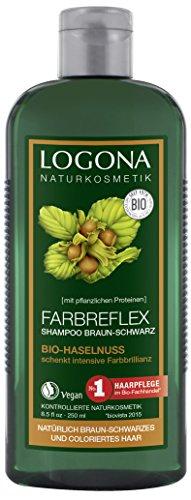 LOGONA Naturkosmetik Farbreflex Shampoo Braun-Schwarz Bio-Haselnuss, Farbschutz für natürlich dunkles/gefärbtes Haar, Belebt die Farbintensivität, Mit Bio-Extrakten, 250ml