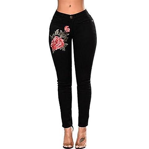 CYBERRY.M Womens Skinny Slim Pantalon Brodé Petit Pied Jeans éLastiques (XL, Noir)