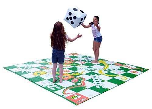 Garden Games Giant Snakes and Ladders Game 3 Metres x 3 Metres PVC Durable Mat and an inflatable Dice - Great Game For Players of All Ages