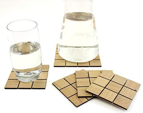 wodewa Holzuntersetzer Eckig für Gläser I 5-teiliges Glasuntersetzer Set Eiche Holz I Hochwertige Untersetzer Holz für Gläser Getränke Untersetzer -