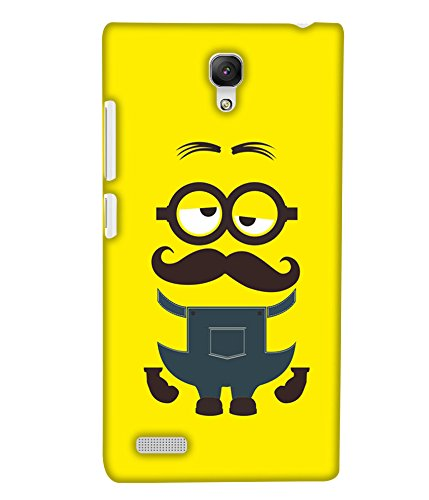 PrintHaat Designer Back Case Cover for Xiaomi Redmi Note :: Xiaomi Redmi Note 4G :: Xiaomi Redmi Note Prime :: Xiaomi Redmi HM Note 1LTE (big beard man in sad mood on yellow background :: in blue and brown)