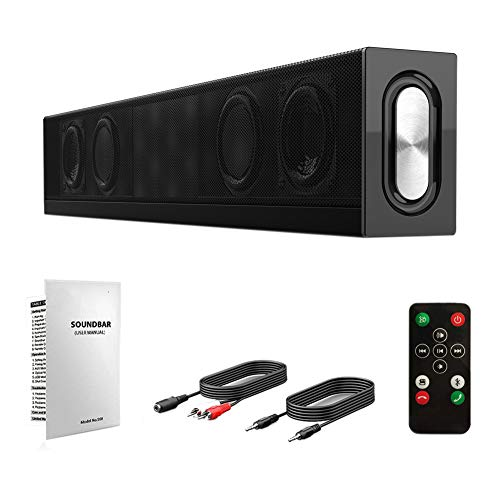 QKa Sound Bars für TV, Sound Bars, Bluetooth Sound Bar Bass and Treble Adjustable, Dual Connection Methods, Wall Mountable BT Speakers (Bars Bluetooth Sound)
