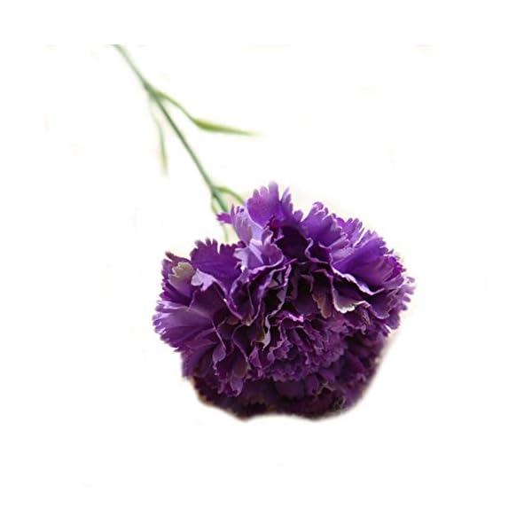 5 piezas plásticas artificiales clavel flores decorativas para el hogar de la boda decoración de DIY púrpura