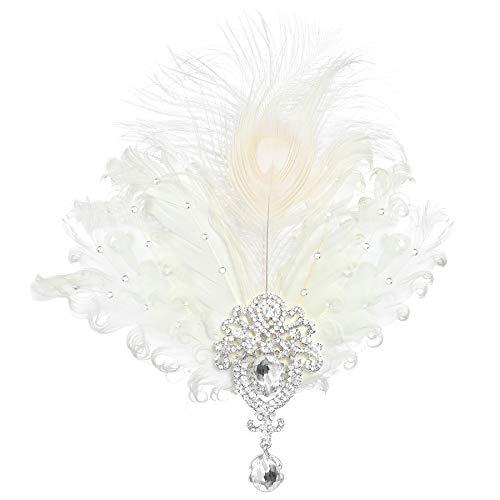 Coucoland 1920s Haarclips Pfau Feder Stirnband Damen 20er Jahre Stil Elegant Haarspange Gatsby Kostüm Flapper Charleston Haar Accessoires (Pfau Feder Strass - Weiß)