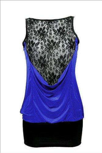 Viskose Longshirt mit Spitzen in mehreren Farben (ak00019) Blau Schwarz