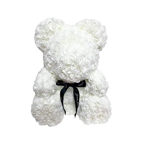 LIOOBO Rose Ourson Ours Artificielle Toujours Cadeau Anniversaire Anniversaire Cadeau Saint Valentin - (25cm) (Blanc)