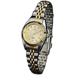 ufengke® luxury shining rhinestone nice gold steel band waterproof watch for women- gold