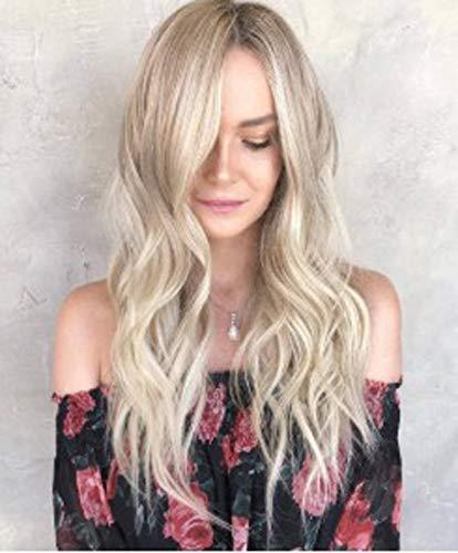 WQWIG Lange lockige Flauschige Perücken für Frauen Blonde gewellte Haare Perücke natürlich aussehende hitzebeständige synthetische Mode volle Perücke mit Perücke Kappe