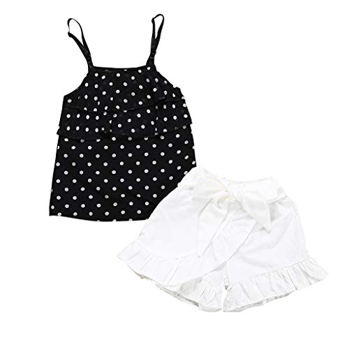JERFER Baby Set Sommer Toddler Girls Sleeveless Ruffles Dot Print Tops+Solid Shorts Outfits Sets