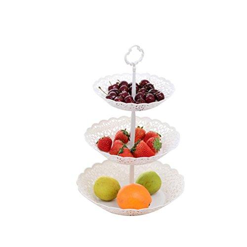 OUNONA 3 Tier Runde Serviertablett Platten Obstteller und Dessert Ständer Snacks Korb für Hochzeit Home Party Servierplatte (26 x 40 cm) 3-tier-dessert-server