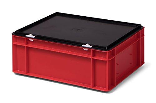 /Lagerbehälter, rot, mit schwarzem Verschlußdeckel, 400x300x156 mm (LxBxH), stabile Industrie-Ausführung! ()