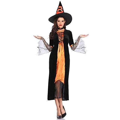 Halloween Kostüm, Wicked Deluxe Ladies Hexe, Märchen Kostüm, Beinhaltet Kleid, Kragen & Hut (Farbe : Yellow, Size : L)