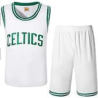 Camiseta de Baloncesto Celtics, Conjunto de Chaleco y Pantalones Cortos de Dos Piezas para Juegos de Baloncesto, Jersey de Swing Blanco (Xl-5xl)-White-XXXL