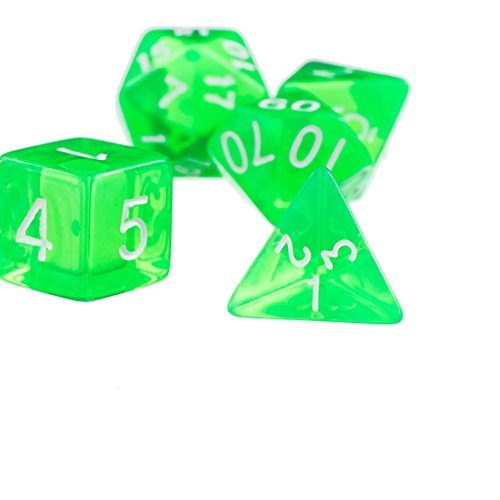 7x Dadi D4 D6 Verde D8 D10 D12 D20 Set Di Dadi Per Dungeons And Dragons Gioco