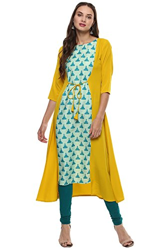 Janasya Women's Indian Crepe 3/4 Sleeve Printed A-Line Kurti/Kurta Top, Yellow