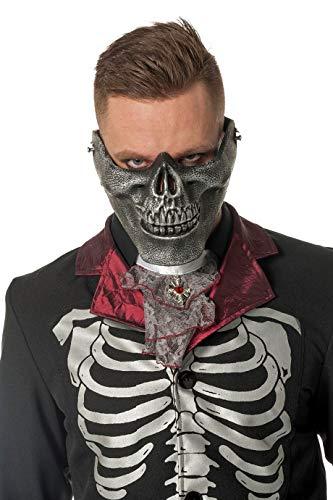 Jannes 24399 Halloween-Maske Skelett Unter-Kifer Skull Totenkopf Voodoo Barock viktorianisch Grusel Horror Scary HochwertigEinheitsgröße Silber
