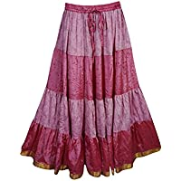 Mogul Interior Womens Skirt Boho Vintage Silk Maxi Bellydance Full Flare Skirts