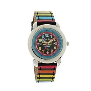 Petit Marcel - LMP05BKC - LMP05 - Montre Enfant - Quartz Analogique - Cadran Noir - Bracelet Cuir Multicolore