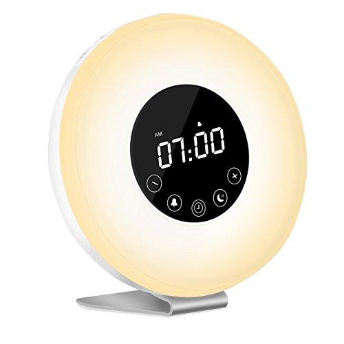Wake Up Light - Lampada Touch Lampada da Comodini Auelek, Sveglia Luce con Simulazione Alba, Luce Notturna con FM Radio, 6 Funzione Naturale Suono 7 Colori Light 10 Livelli di Luminosità