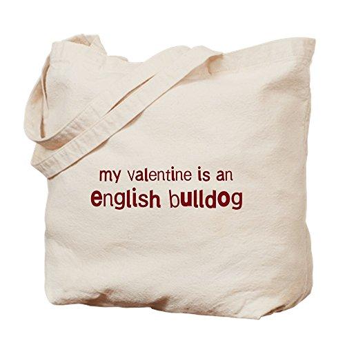 CafePress Einkaufstasche, Motiv: Englische Bulldogge Valentinstag, Naturleinen, Einkaufstasche (Bulldogge Englische Valentine)