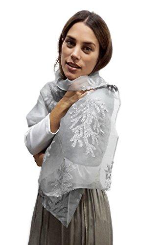 Chiffon Schal Stola Elegant Bestickt Ideal zum Sommerkleid oder Abendkleid. Hergestellt in Spanien, Silbergrau