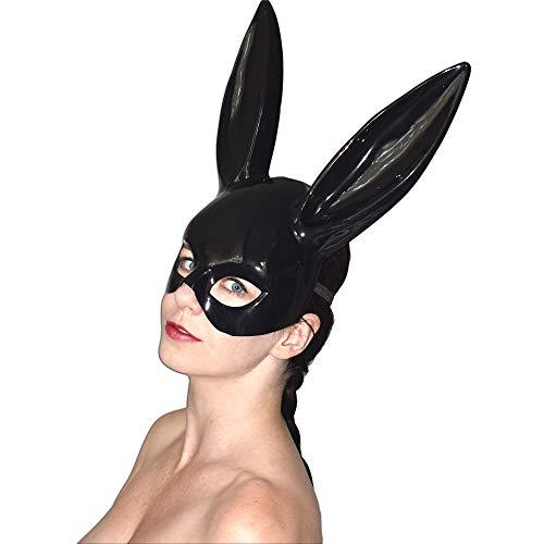 Sexy Bunny Halbmaske mit langen Ohren für Fasching (Lack glänzend)