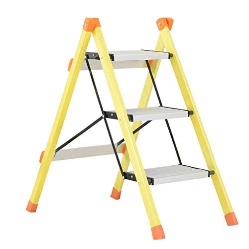 LIZITD Escalera - Taburete de Escalera de Escalada de Fibra de Vidrio de Uso intensivo Plegable de Tres Pasos, Capacidad de Carga 150 kg, 2 Colores (Color : A)