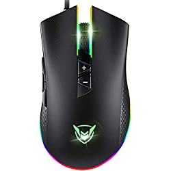 PICTEK Gaming Mouse Wired, 10000 DPI Adjustable, 8 Programmable Buttons, Chroma RGB Backlit, Comfortable Grip Ergonomic Optical PC Computer Gaming Mice with Fire Button - PMW3325 Gaming Chip, Black