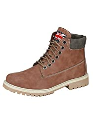 Eego Italy Camel Synthetic Leather Mens Boots